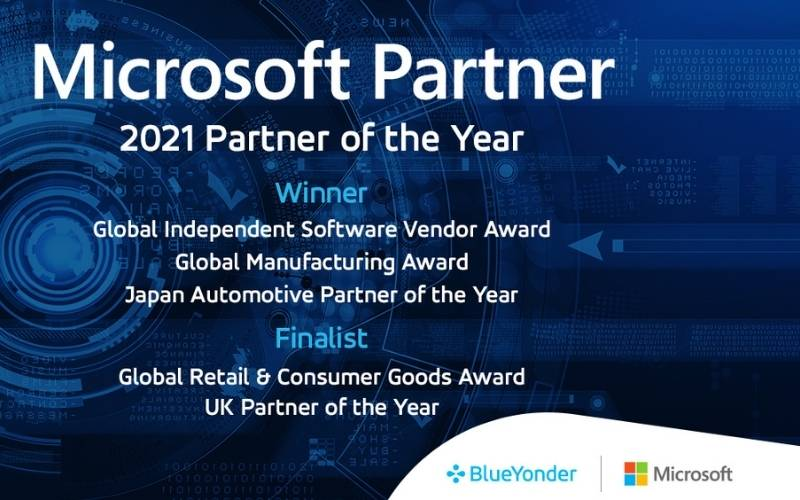 Blue Yonder Named 2021 Microsoft Global Independent Software Vendor and Manufacturing Partner of the Year Winner